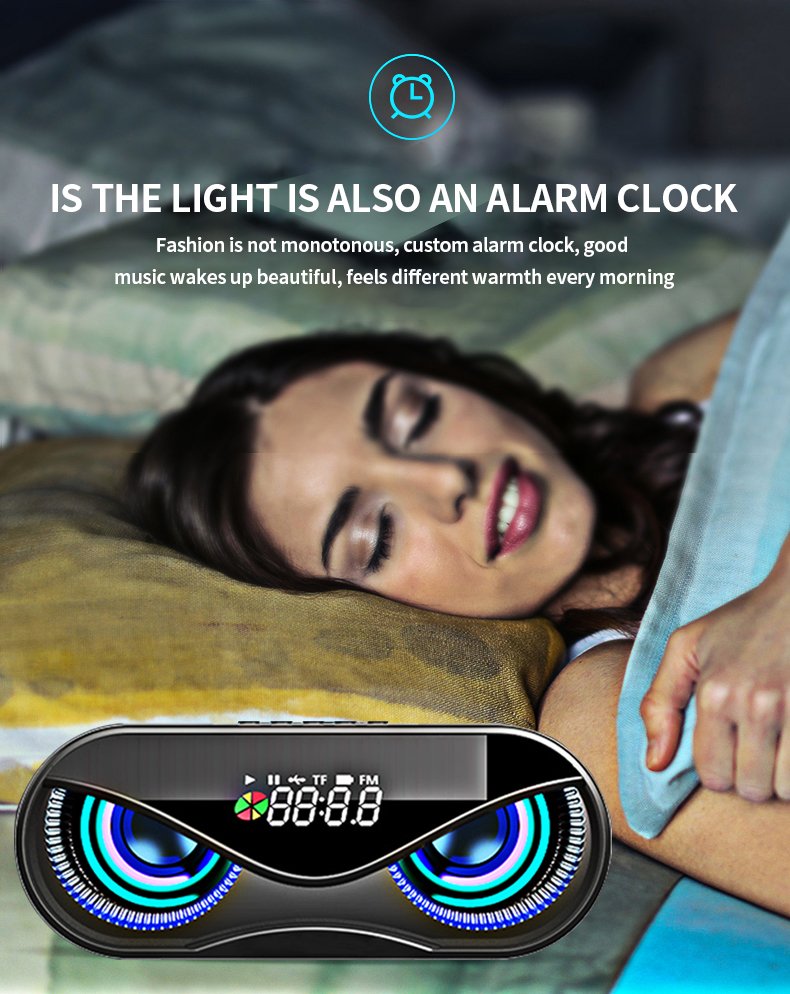 FM Radio Alarm Clock Bluetooth Speaker with LED Flash H18e7325511d34248a4e7947189f1281dW speaker
