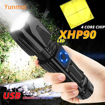 The Most Powerful XHP90 LED Flashlight 15000LM Xlamp Aluminum XHP50.2 Waterproof Torch Light Lanterna Use 26650 for Hunting - Category 🛒 Lights & Lighting