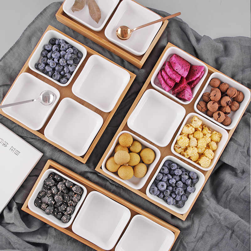 Japanese-style Ceramic Wooden Food Storage Tray Home Kitchen Multi Grid Nut Snack Candy Organized Decoration Trays