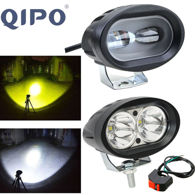 QIPO 1PCS Motorcycle LED Headlight 20W 2000Lm Spot Flood Light Bicycle Work Off Road ATV 4WD Car Driving Fog Auxiliary Lamp