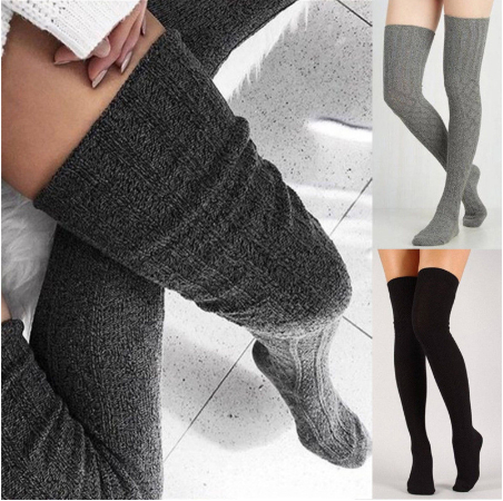 Women Over Knee Socks Fashion Female Sexy Stockings Warm Long Boot Knit Thigh-High Gray Khaki Blue Black