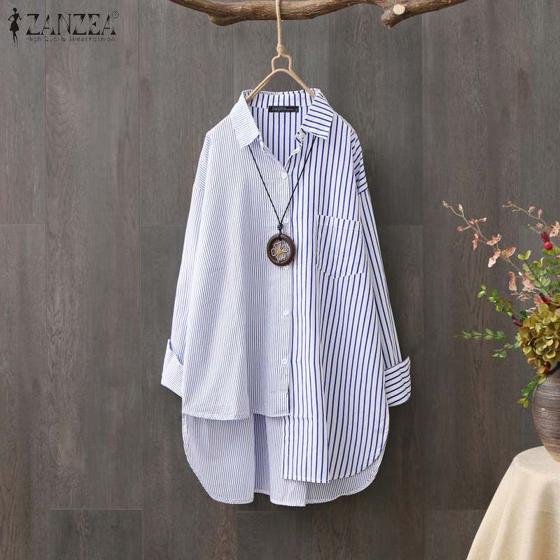 Fashion Striped Shirts ZANZEA Women Long Sleeve Patchwork Blouse Spring Irregular Hem Blusas Femme Office Work Top Mujer Chemise