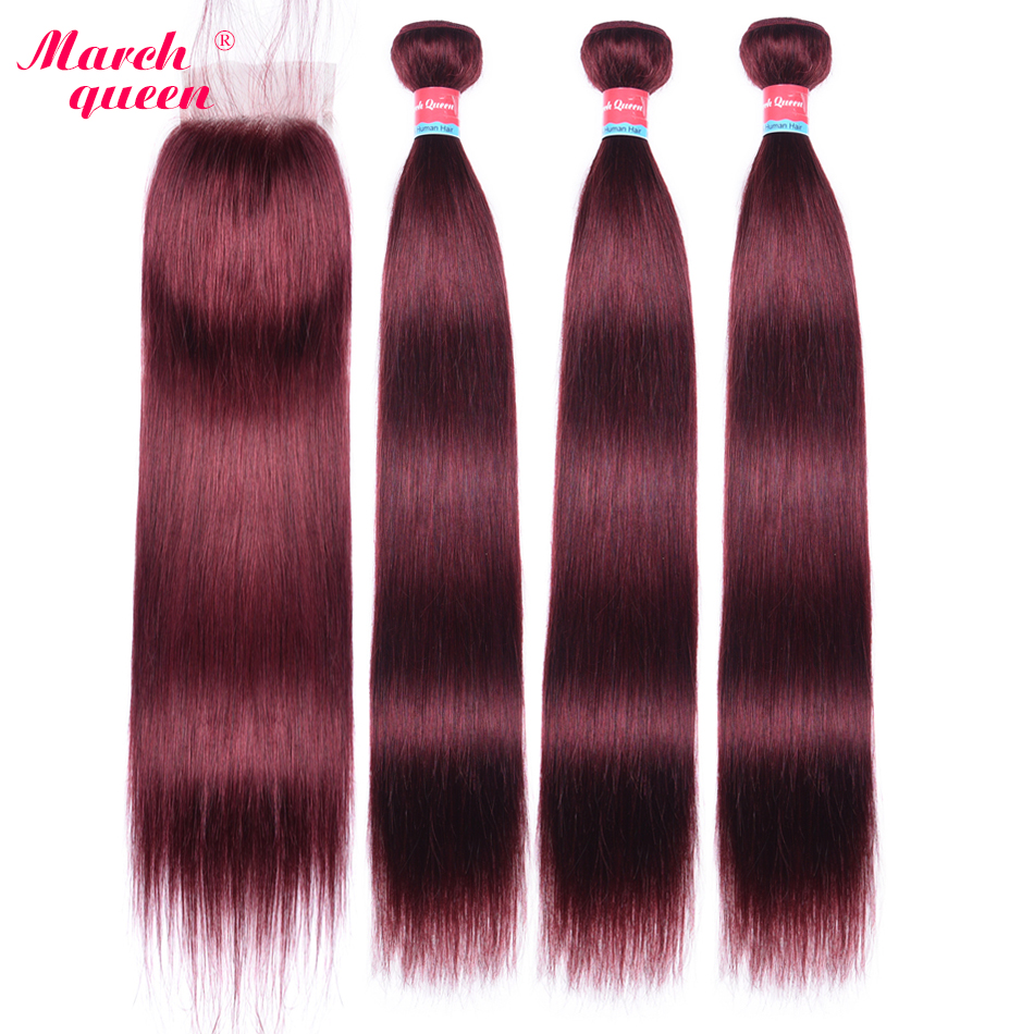 March Queen Mongolian Straight Hair Bundles With Closure #99J Red Wine Color Human Hair Weave 3 Pieces With 4*4 Lace Closure