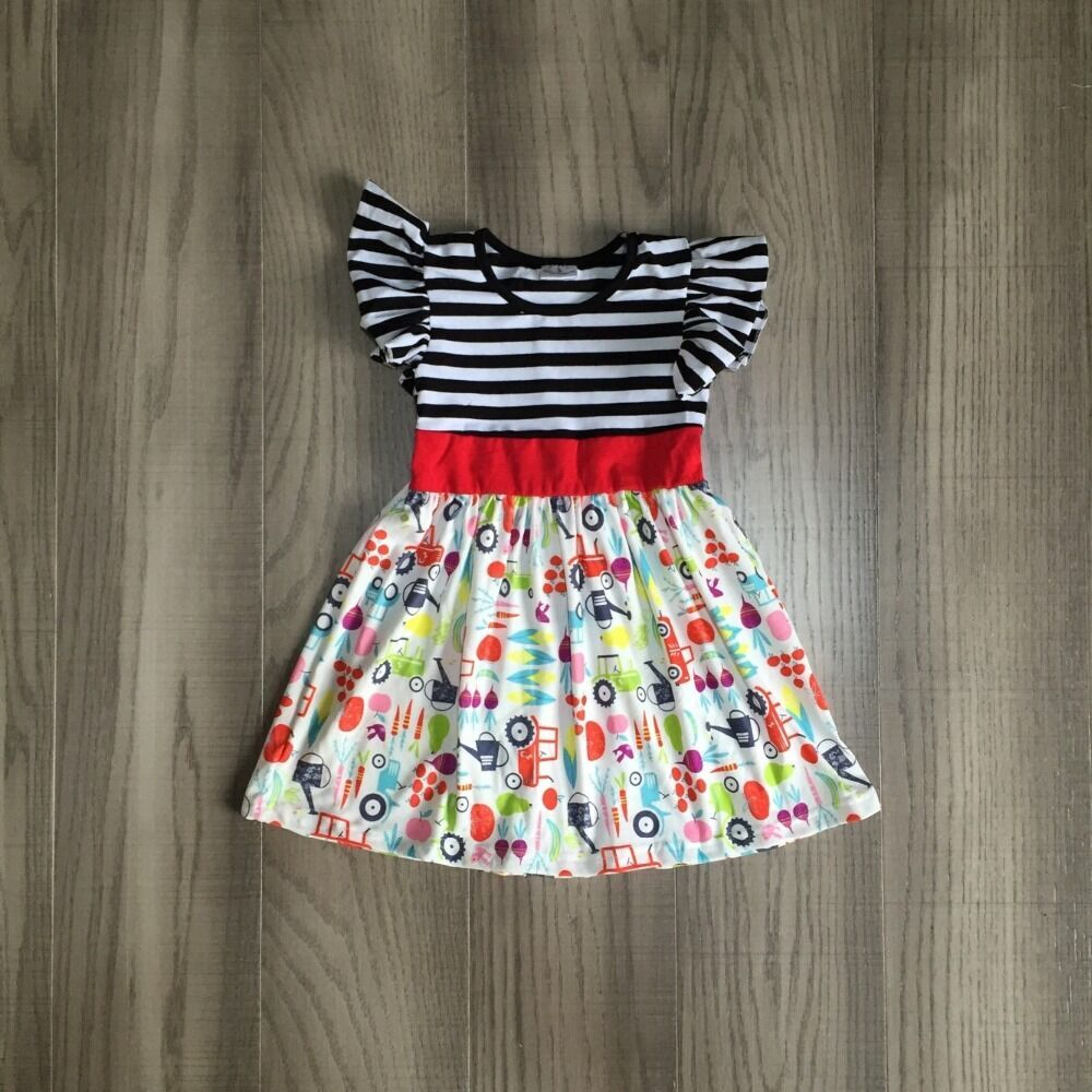 Baby Girls Summer Farm Dress Girls Truck Farm Dress Girls Classic Stripe Dress
