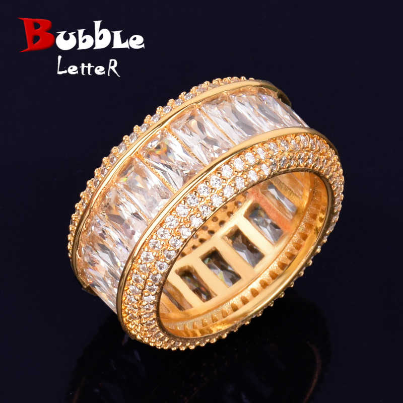 Bling Baguette Zircon แหวนผู้ชาย 18 K ทองแดง Charm PARTY แหวนเงินแฟชั่น Hip Hop ROCK เครื่องประดับ