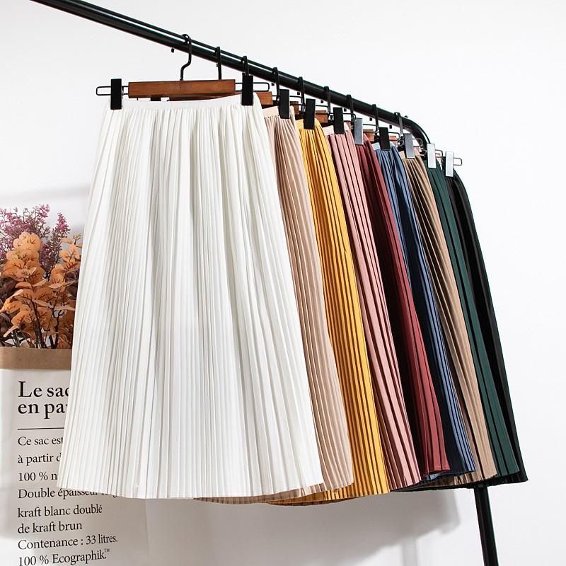 Spring Women Skirt 2020 Summer Light Classic A Word Skirt Thin Solid Color Skirt High Waist Retro Slim Pleated Mid-length Skirt