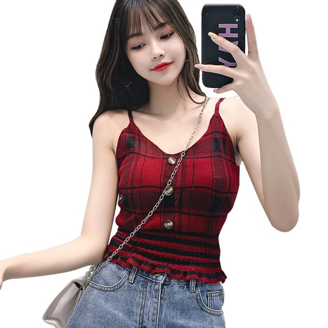 Women Plaid Knit Top Buttons Cropped Club Sexy Camisole Knitted Top Sleeveless Ruffles Knitted Sweet Chic Tee Shirts Crop Top 1