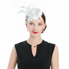 British Royal Banquet Fedora Hat For Women Elegant Church Fascinator Wedding Cocktail Tea Party White Feathers With Bead Cap