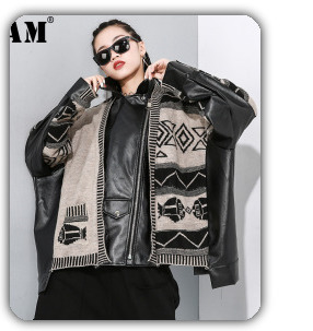 [EAM] 2020 New Spring Lapel Long Sleeve Solid Color Black Gray Split Joint Loose Big Size Jacket Women Fashion JC969 16