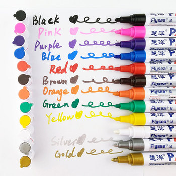 6Pcs/Set 12 colors Waterproof Car Tyre Tire Tread CD Metal Permanent Paint Marker Graffti Oily Marker Stationery