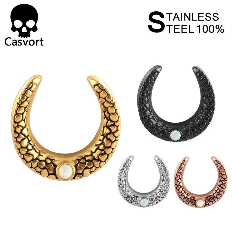 Opal Ear Tunnel Plug Ear Piercings Ear Guages Jewelry Blue 2PCS 316 Steel