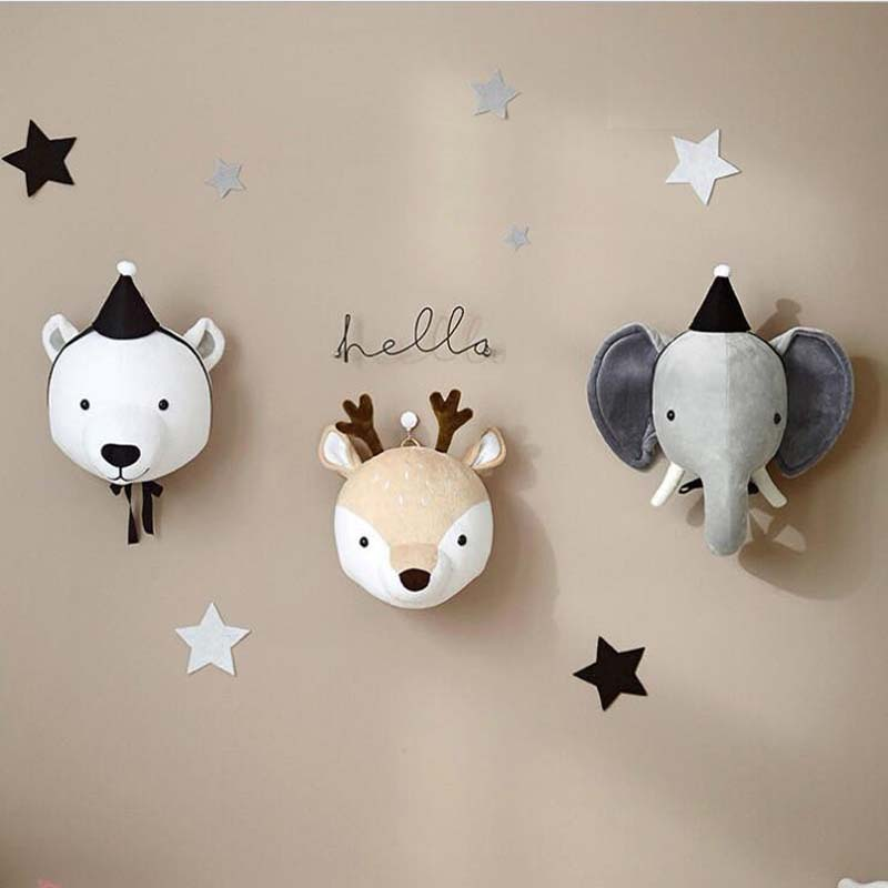 Kids Room Plush Toys 3D Animal Heads Decoration Elephant Deer Unicorn Wall Hanging Decor For Baby Girls Nursery Room Decoration