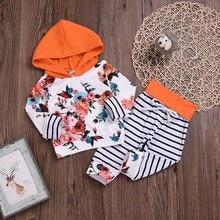 Милый свитер для маленьких девочек на весну и осень, худи с цветочным принтом+ штаны с ремешками, комплект одежды, спортивный костюм для малышей