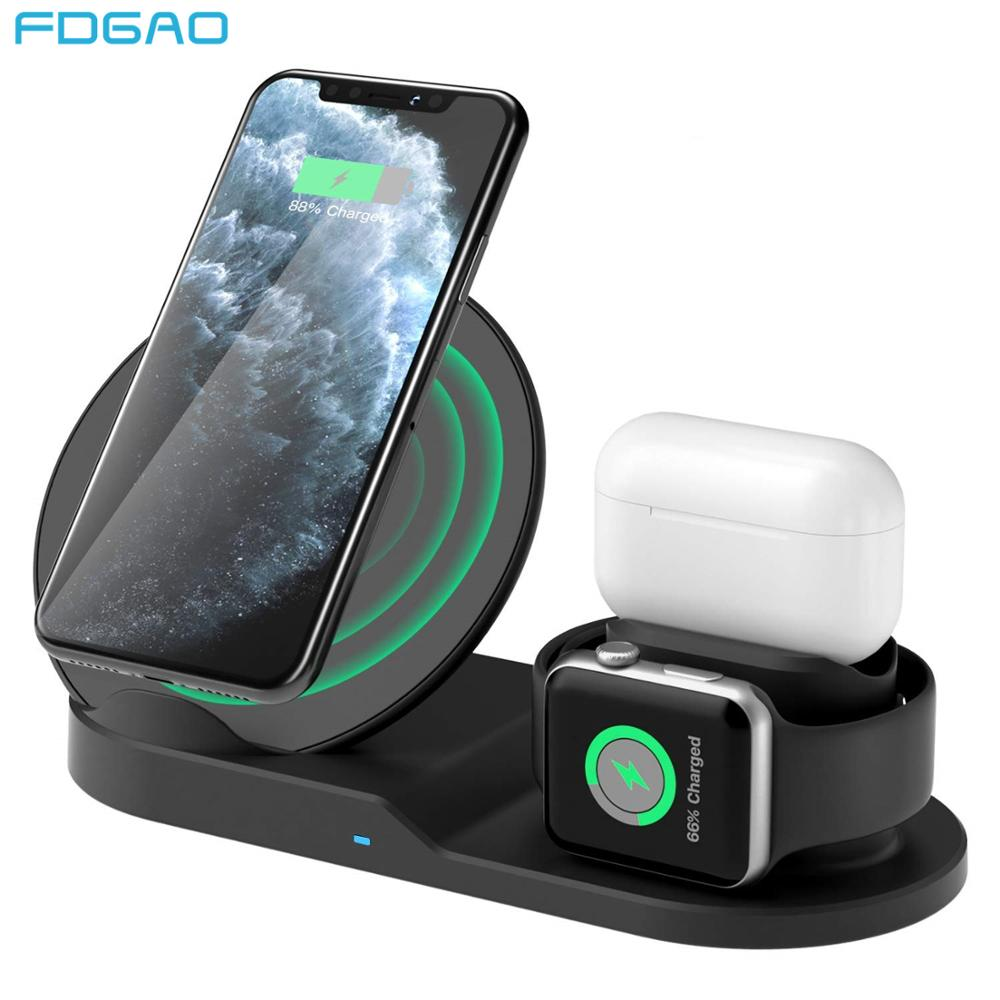 FDGAO 3 in 1 Qi Wireless Charger Stand Charging Station For iPhone 11 Pro XS XR Apple Watch 5 4 3 2 Airpods Pro For Samsung S20|Wireless Chargers| |  - title=