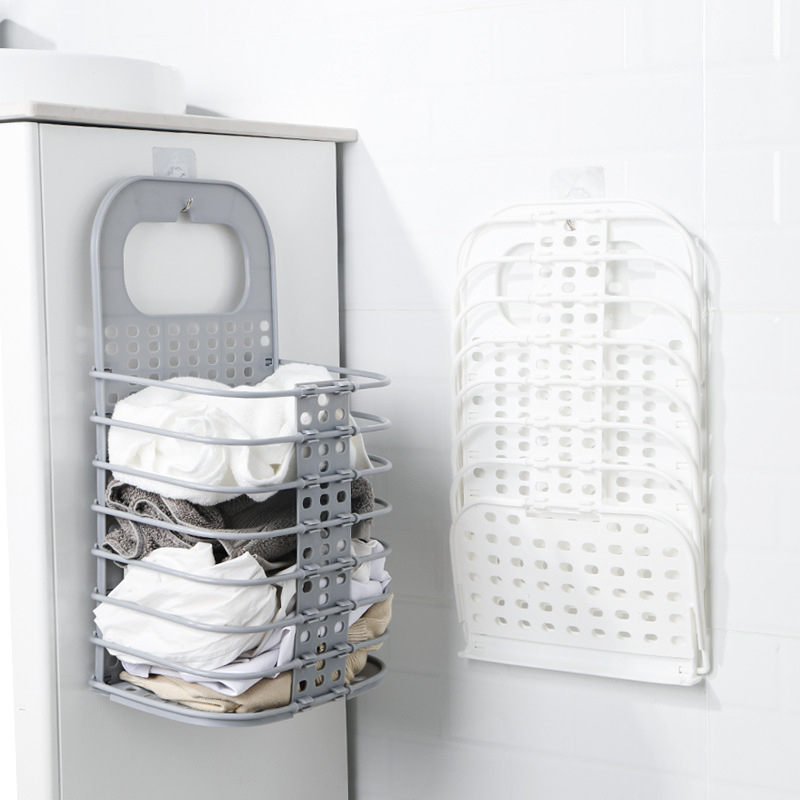 Folding Laundry Organizer Basket Collapsible Dirty Clothes Storage Baskets Bathroom Storage Shelf Home Space Saving Storage Bask