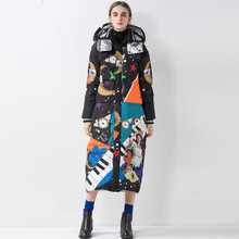 2019 Winter New Arrival Print Top Quality White Duck Down Warm Down Jacket Long Coat Women Thick Loose Female Overcoat цены онлайн
