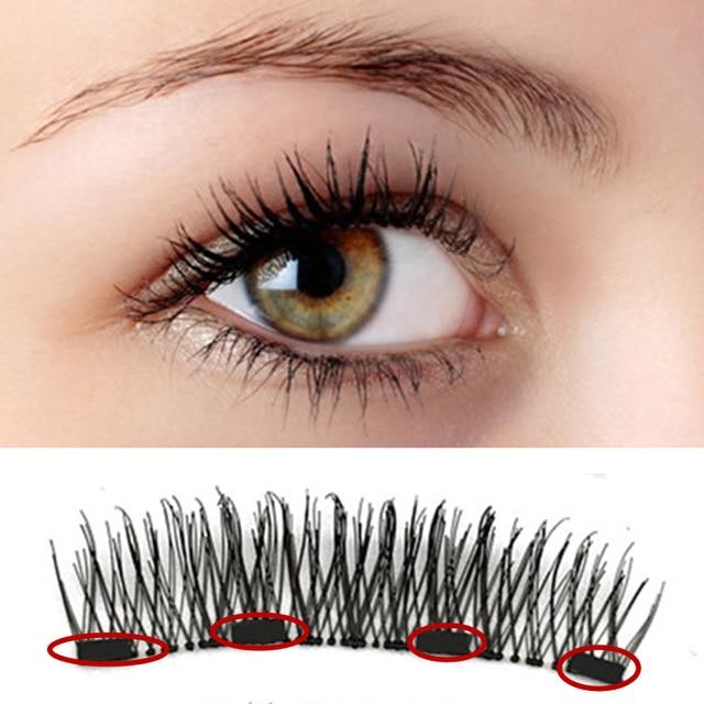 2 pairs of 3D magnetic eyelashes  handmade  Mink eyelashes eye makeup extended false eyelashes repeated use false eyelashes 1
