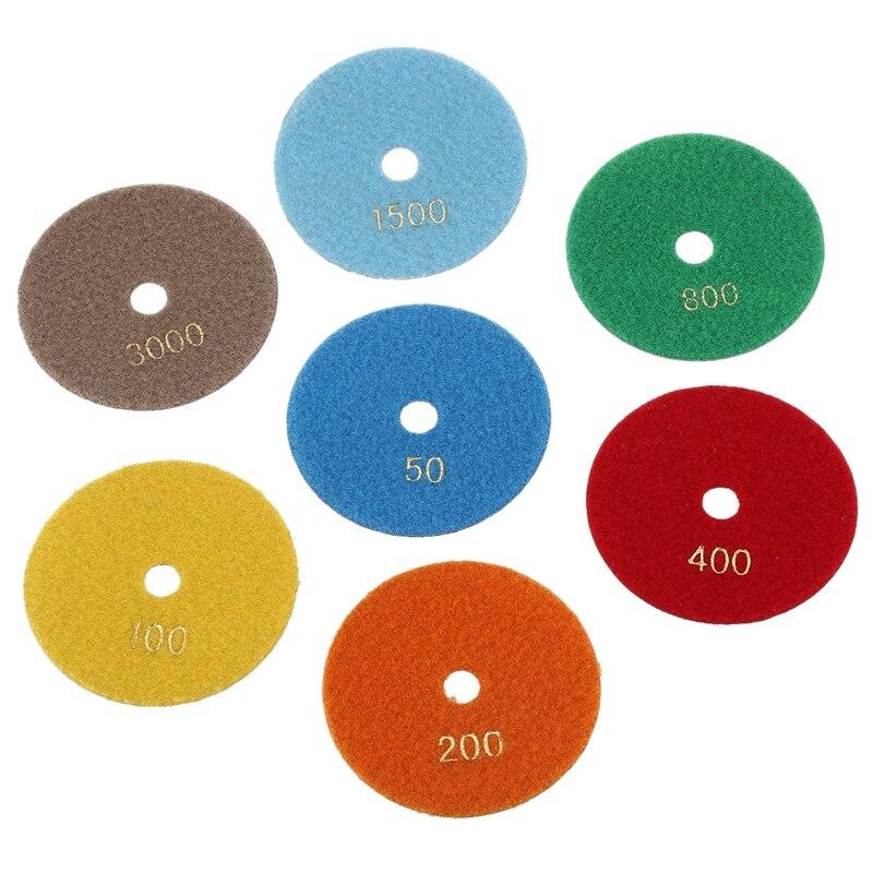 7 pçs diamante seco polimento almofadas 100mm disco de polimento polimento de mármore granito polimento disco