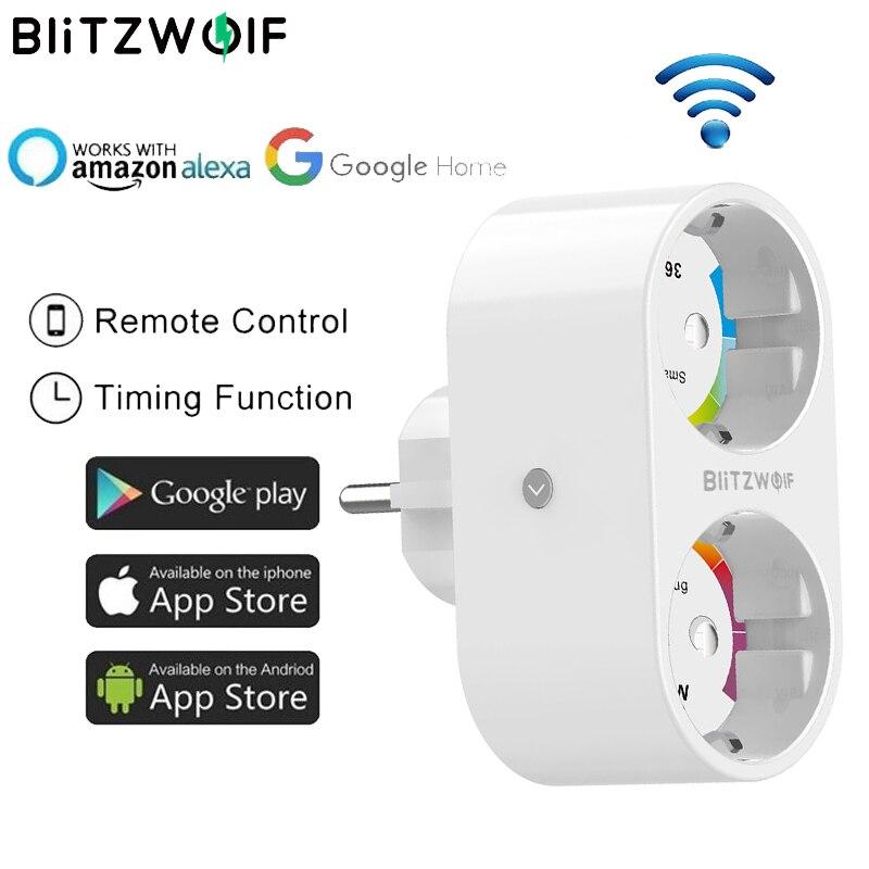 BlitzWolf BW-SHP7 3680W 16A double prise prise ue prise intelligente WIFI prise APP télécommande travail avec Google Assistant/Amazon Alexa