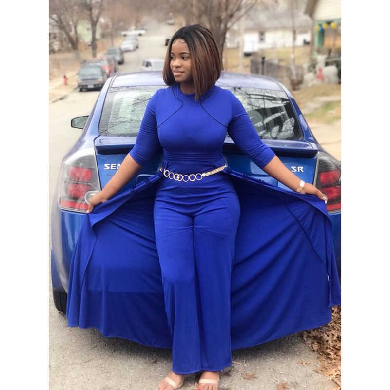 White Women Long Jumpsuit Autumn African 2019 Long Sleeve High Waist Wide Pants Rompers Plus Size 3XL Femme Office Lady Workwear