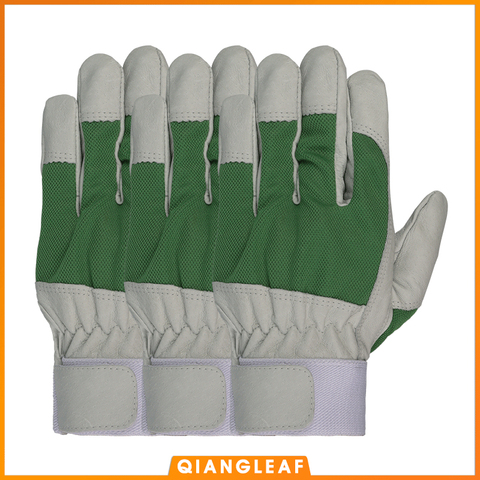 qiangleaf 3 pcs melhor vender produtos mecanico trabalho luva de couro casaco jardim pesado ferramenta
