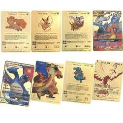 Новые золотые металлические цветные бои Carte игры Pokemones карты энергия Charizard коллекции карточки с буквами в наличии