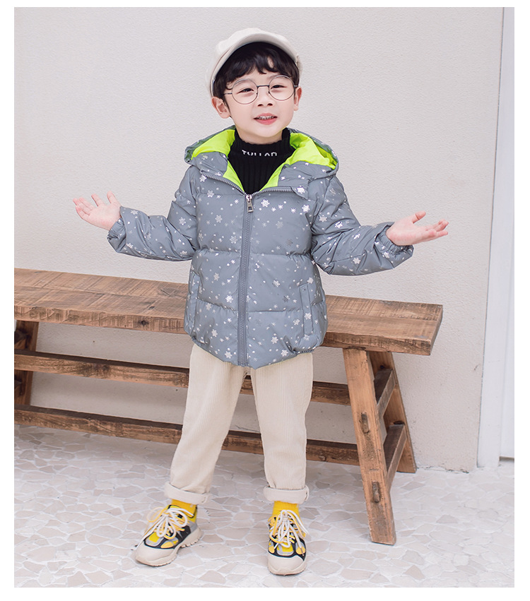 Winter New Fashion Reflective Kids Jackets for Boys Girl Children  Down Thick Hooded Warm Heavy Night Wear Outwear 2