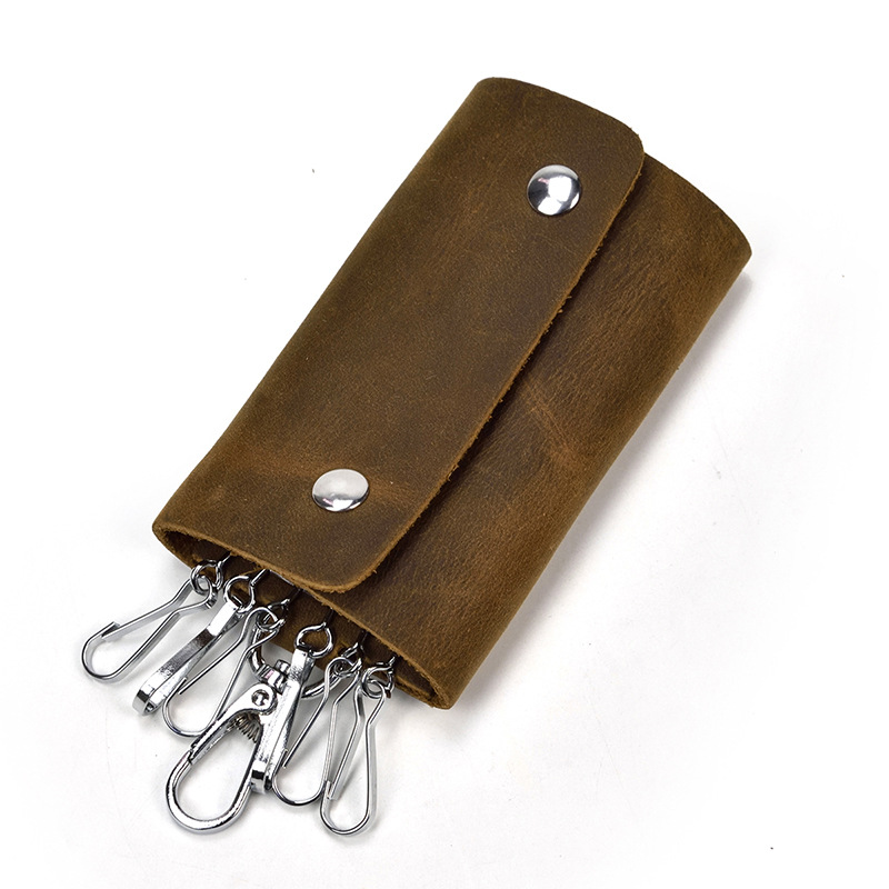 Housekeeper Genuine Leather Key Holder Wallet Unisex Solid Leather Keychain Organizer Bag Car Housekeeper Wallet