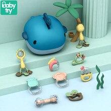 Bebê chocalhos com caixa de armazenamento da criança brinquedos educativos bebe música macia mordedor de borracha do bebê montessori brinquedos para o presente de natal recém-nascido