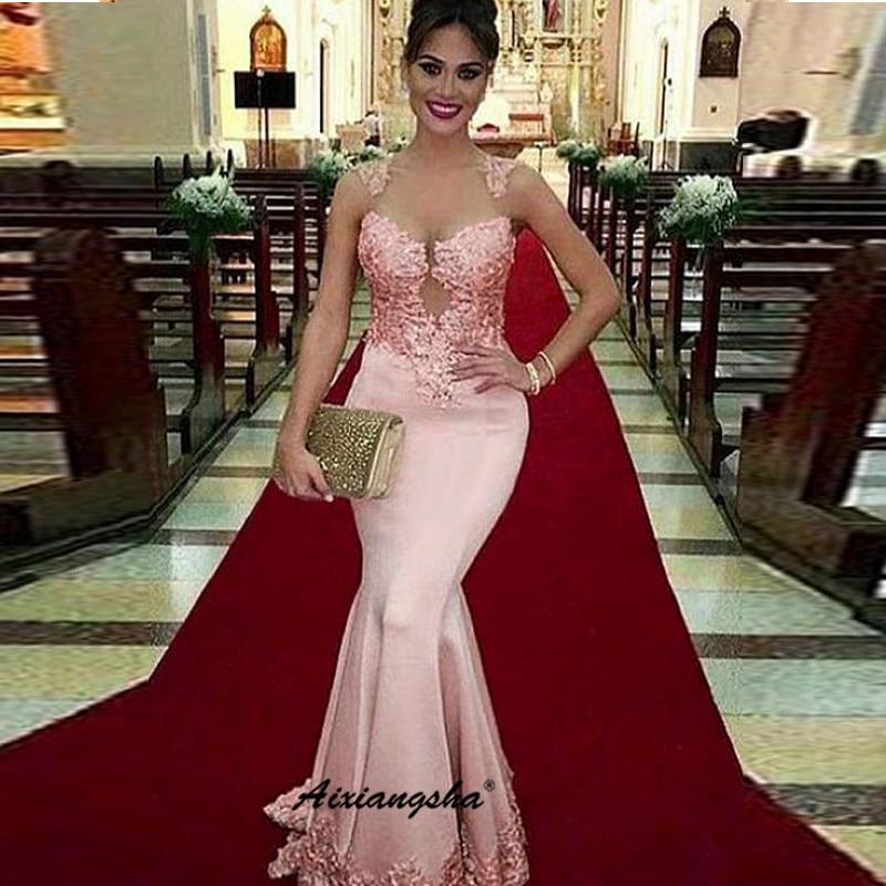 Pink Mermaid Evening Dress Deep-V Satin Applique Backless Vestidos Largo Islamic Dubai Elegant Long Evening Gown Prom Dress