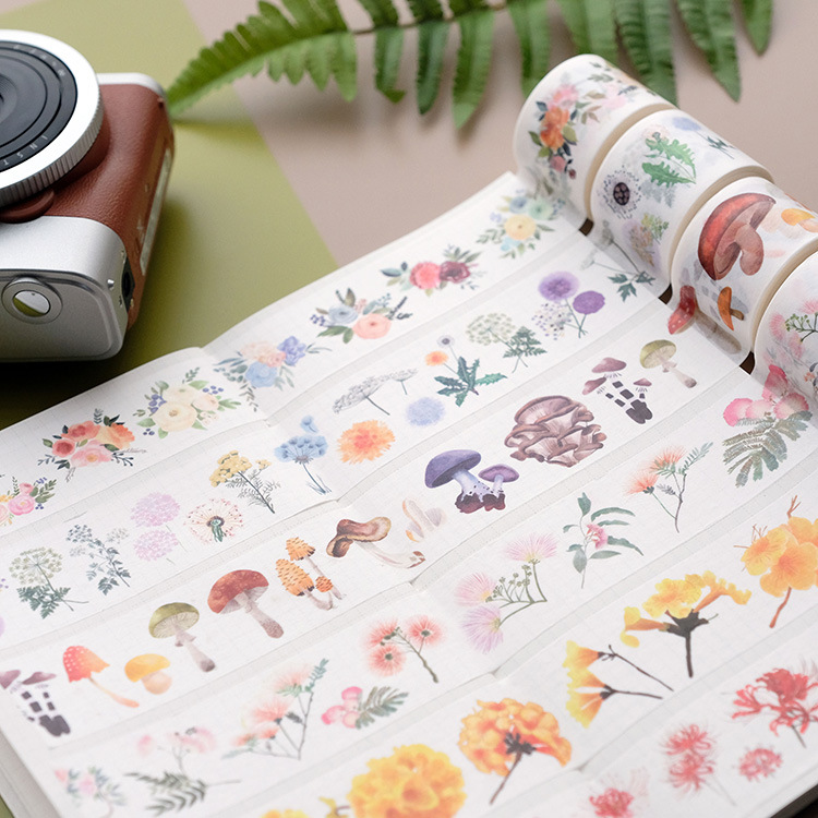 3cm Dandelion Ginkgo Leaf Flower Grass Journal Washi Tape Adhesive Tape DIY Scrapbooking Sticker Label Masking Tape