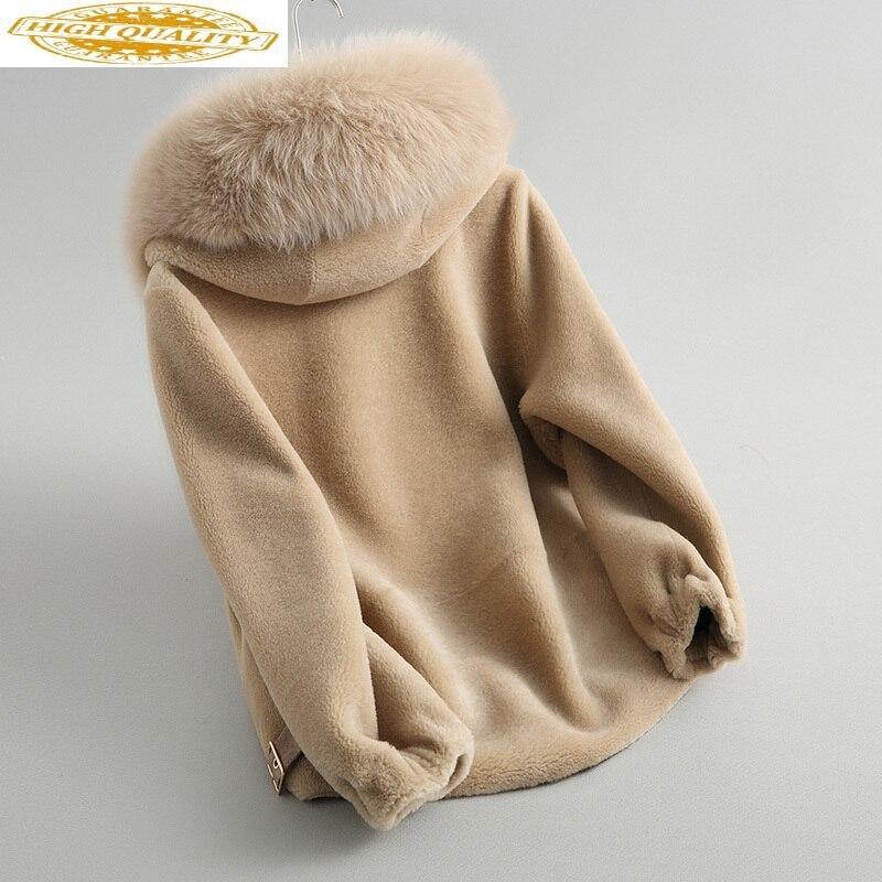 Real Fur Coat Female Jacket Winter Coat Women Clothes 2020 Fox Fur Collar Hooded Short Wool Fur Jacket 7623 KJ2884