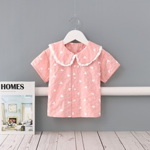 Midoo Fairy 2021 Summer Girls Kids Children's Cotton Shirt Top Blouse Lace Peter Pan Collar Cute Mouse Print Casual Clothes