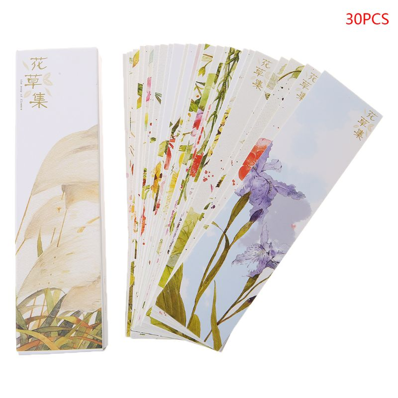 30pcs Creative Chinese Style Paper Bookmarks Painting Flower Set Cards Retro Beautiful Boxed Bookmark Commemorative Gifts