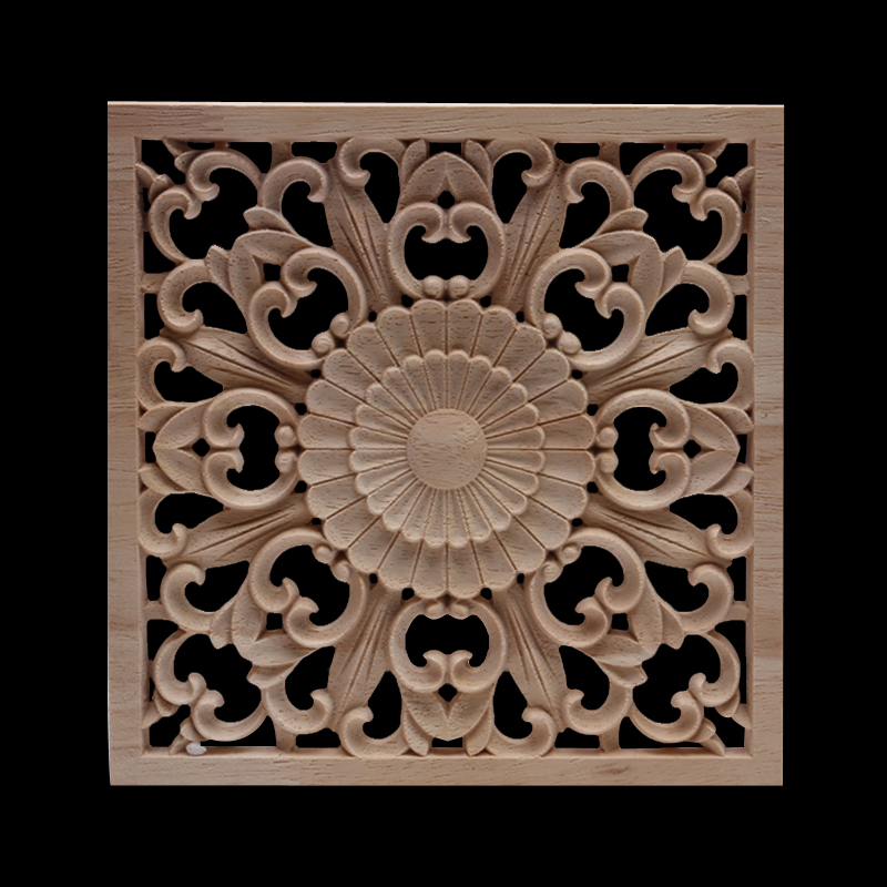 Ornamental Decoration Exquisite Natural Long Large Oval Flower Wooden Furniture Walls Cabinet Wood Applique Wood Decal Onlay NEW
