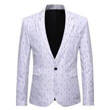 Мода повседневная 2020 Весна плюс размер костюмы куртка мужская полосатый пиджак мужчины свободного покроя цветочный пиджак полный однобортный хлопок
