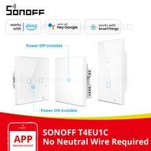 Itead sonoff T2 eu/英国/米国 wifi ウォールタッチライトスイッチ高級ガラスパネルワイヤレス電気タッチスイッチ 433 rf contol スイッチ
