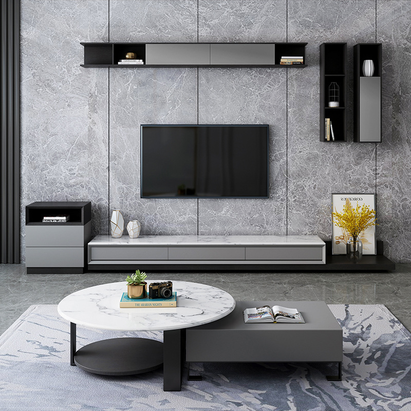 Hot Price B699 Living Room Furniture Marble Coffee Table Tv Cabinet Combination Set Modern Minimalist Nordic Coffee Table Wholesale Cicig Co