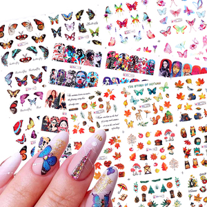 12pcs Maple leaf Butterfly Nails Sticker Set Flowers Water Transfer Slider Decals For Nail Art Sticker Decorations DIY Tips