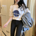 Hong Kong Flavor Spring Summer New Style Retro Embroidered Sequin Planet Loose-Fit Leisure T-shirt Student White Short-sleeved T