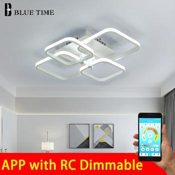 New Modern Led Chandelier Lamps Square Frame For Living Room White & Black LED Home Lighting Fixture Ceiling