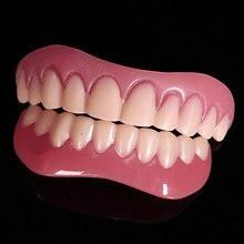Silicone falso dentes cobrir superior & inferior falso dente folheados dentaduras dentadura postiza completa branquear cintas