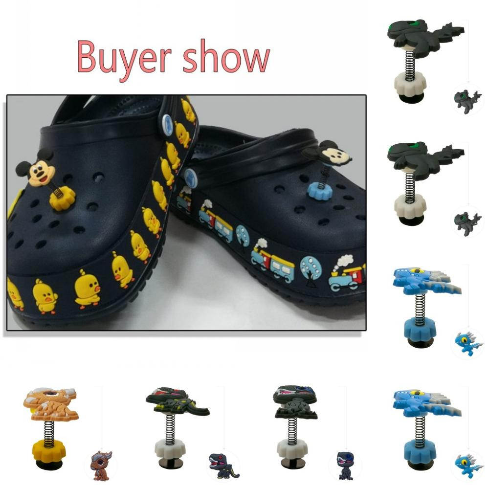 1pc Dinosaurs Standing Flat Flowers Spring Shoe Charms PVC Shoe Accessories Shoe Decoration For Croc Jibz Kids Party X-mas Gift