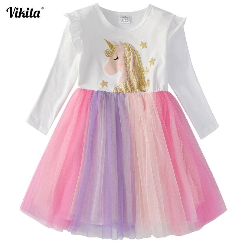 VIKITA Brand Girls Unicorn Tutu Dress Kids Princess Vestido Girls Birthday Party Dress Children Autumn Winter Unicorn Costumes