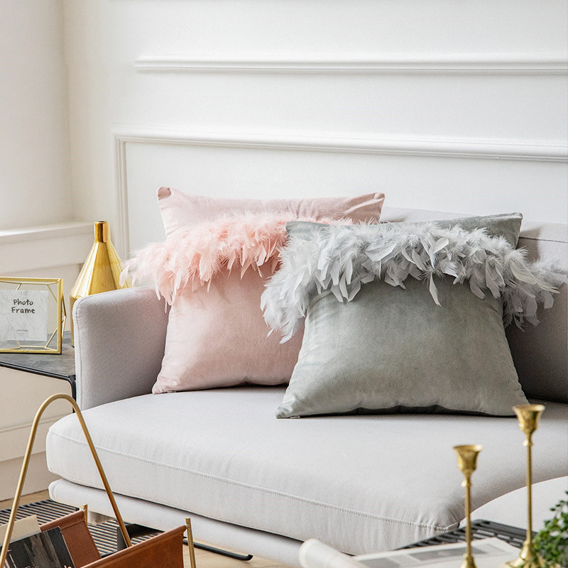 45x45cm Beige/pink/grey/yellow Solid Color Feather Lace Cushion Cover Sofa Velvet Throw Pillowcase Pompom Waist Pillow Cover|Cushion Cover| - AliExpress