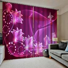 Purple blackout curtains for bedroom 3D Blackout Curtains For Living room Bedding Drapes Cotinas