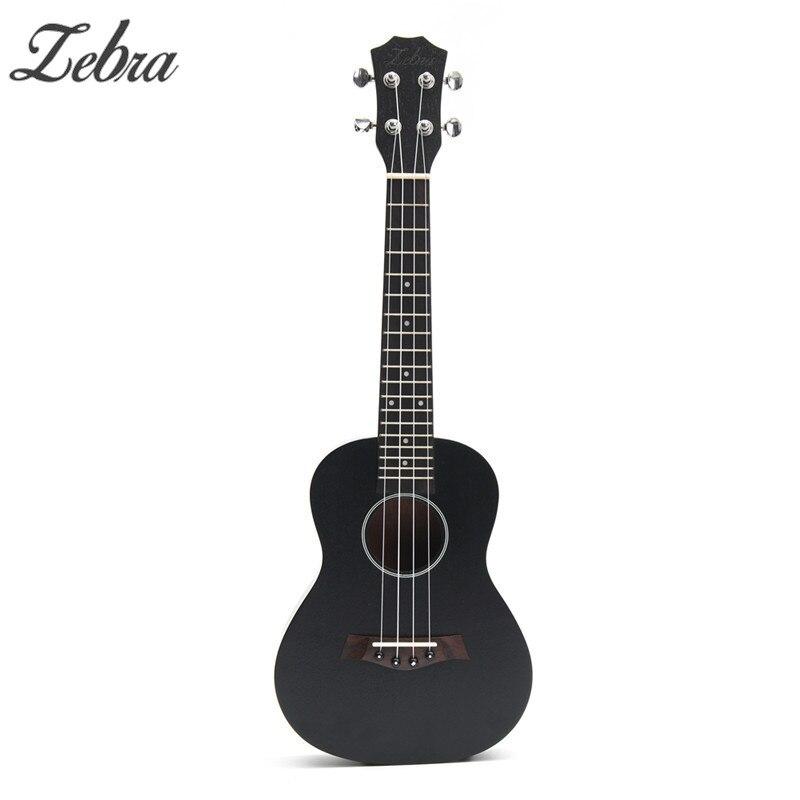 Zebra 23inch Black Ukulele Sapele Wood Concert Hawaii 4 Strings For Beginner Mini Guitar Rosewood Fretboard Stringed Instrument
