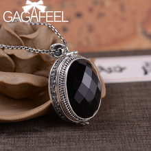 GAGAFEEL 925 Silver Big Black Stone Lockets Pendant Oval Openable Box Pendants Vintage Aroma Diffuser Pendant Necklace
