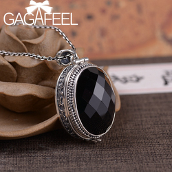 GAGAFEEL 925 Silver Big Black Stone Lockets Pendant Oval Openable Box Pendants Vintage Aroma Diffuser Pendant Necklace
