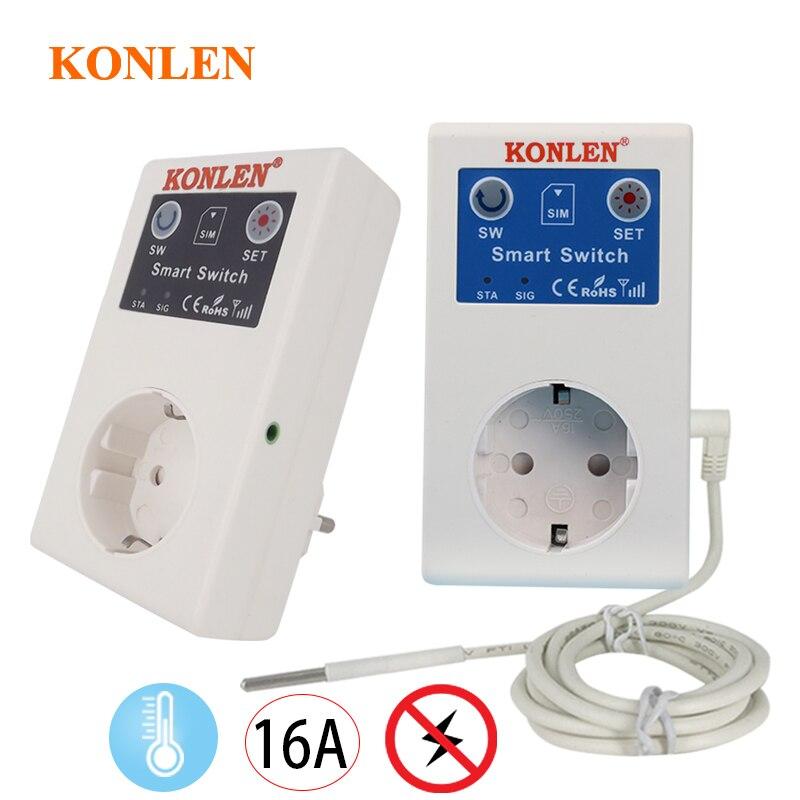 Enchufe de potencia inteligente GSM SMS de 16A, controlador de Sensor de temperatura, enchufe, interruptor de relé inteligente, Automatización del hogar con Control remoto
